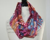 Boho Chic Infinity Scarf - Autumn Colors - Butterfly Print Cotton Voile Fabric - Modern Fashion Accessory - Ladies Teens Gifts Under 35