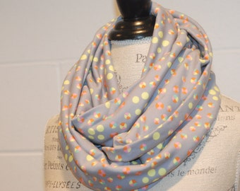 Grey Coral & Citron Modern Dots Cowl Infinity Scarf Neckwarmer Snood - Cotton Jersey Fabric - Fall Winter Fashion Accessory - Ladies Teens