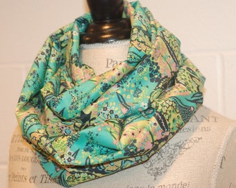 Green & Yellow Floral Print Infinity Scarf - 100% Cotton Voile Fabric - Modern Fashion Accessory - Ladies Teens Tweens