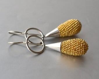 Silver Earrings golden drops