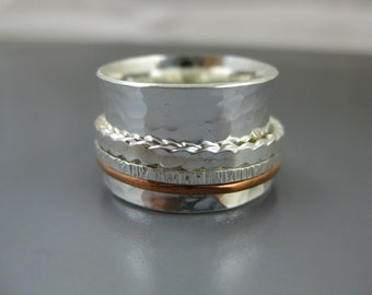 sterling and copper spinner ring, scalloped edges spinner, sterling silver meditation ring, fidget ring, recycled silver ring