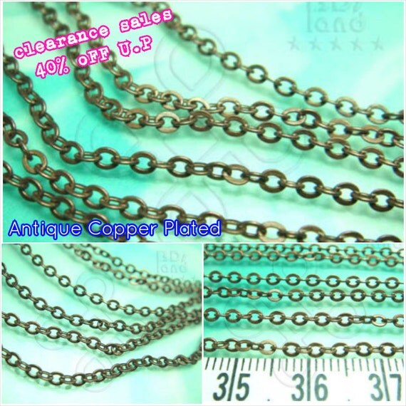 Sales -40% / T204BZ / 2meter / 8+2meter / Link size 2.5x2mm - Antique Copper Plated Fine Flattened Oval Cable Chain Findings