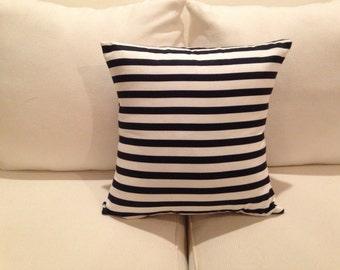 Navy Stripe Throw Pillow