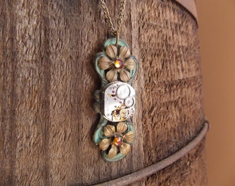 Steampunk Necklace Vintage Watch Movement Flower Necklace  Brass Jewelry