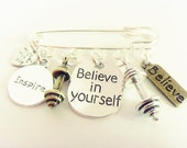 Believe in Yourself Silver Plated Bronze Barbell Weight Exercise Tag Fitness Brooch