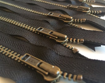 YKK Antique Brass Metal Zipper- Black 580- (5) Pieces- Available in 7 or 13 inches