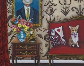 Fine Art  Print of Still Life Painting-British Vignette-  8x10  by Catherine Nolin