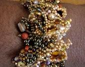 Gold tones - Freeform peyote  Bracelet