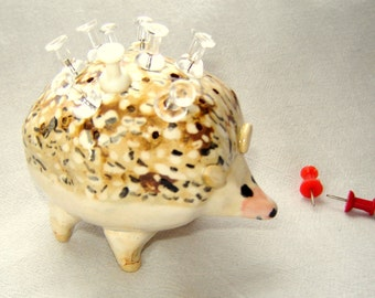 Hedgehog Ceramic Push Pin Tooth Pick Holder for Entertaining Stoneware Pottery
