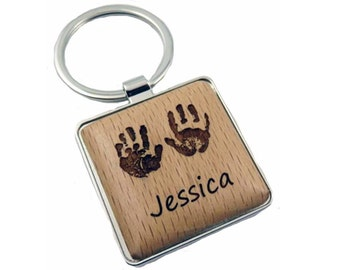 Custom Baby Hand Print Key Chain with your baby's actual footprints (square, #2253)