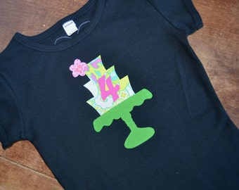 4th Birthday Shirt for Girls / READY TO SHIP / fourth birthday tee / 4th Birthday Cake Shirt topped with a flower / 4 Number Tee