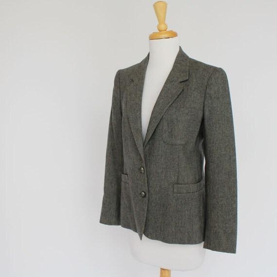 70's Wool Boyfriend Jacket / Blazer / Gray / XSmall to Small