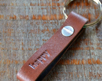 Personalized Saddle and Dark Brown Leather Keychain - Long & Skinny Style