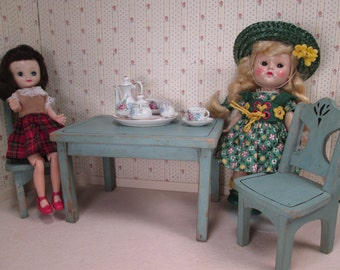 Vintage Wooden Doll Furniture - Table and 2 Chairs - Sized for Ginny, Muffie and Friends