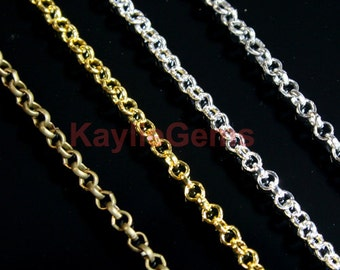 2x2 Rolo Cross Link Chains - Antique Brass, Gold, Silver, Platinum - 6 ft / 12ft