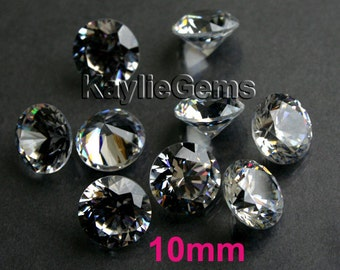 4pcs 10mm AAAAA Cubic Zirconia CZ Loose Stone Gem Diamond Brilliant Cut