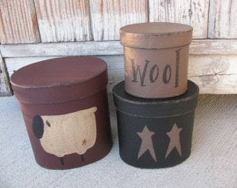 Primitive Sheep and Stars Hand Painted Oval Set of 3 Stacking Boxes GCC594