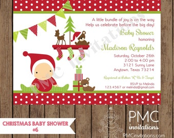 Custom Printed Christmas Baby Shower Invitations - 1.00 each with envelope