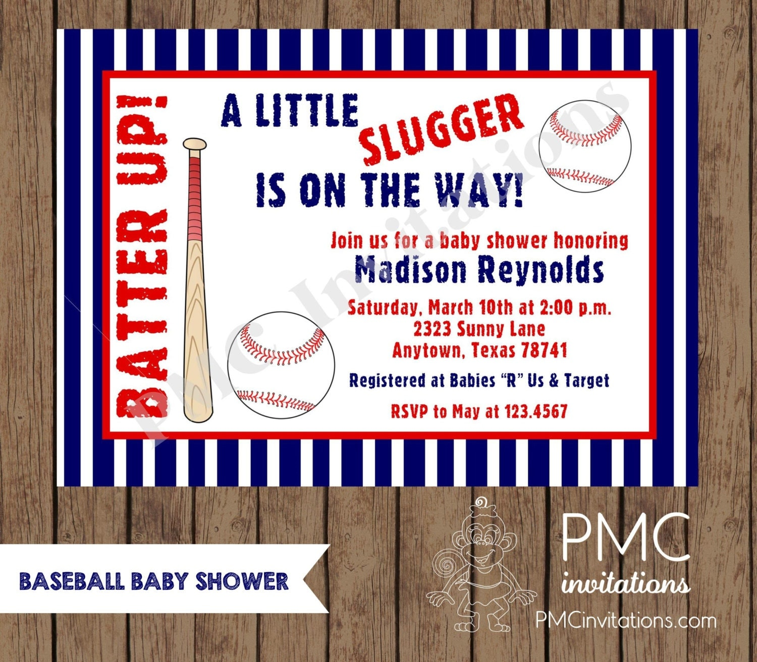 custom printed baseball baby shower invitations by pmcinvitations