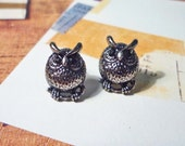 SALE - Silver Owl Stud Earrings
