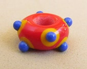 Festive Red, Yellow, and Blue Big Hole Lampwork Bead, Handmade by Harleypaws