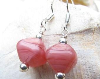 Pink Lampwork Earrings, Handmade by Harleypaws, SRAJD, Pink Crystal Pearl