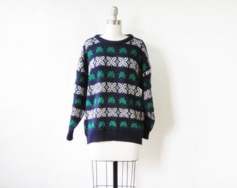 st. patrick's day sweater, vintage shamrock sweater, 1980s Irish sweater, women's 2xl, men's, xl