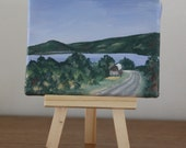 3 X 4 inch mini painting, affordable art, mini painting, Finger Lakes area,Bopple Hill Rd, Canandaigua Lake, landscape painting