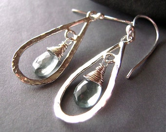 Natural Moss Aquamarine Earrings, Sterling Silver Earrings, Gemstone Moss Aquamarine, Dangle, Drop