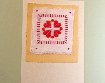 Hand Embroidered Valentine Card