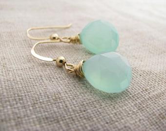 Aqua Blue Chalcedony Earrings Gold 14kt Gold Fill Blue Chalcedony Earrings
