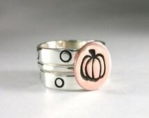 Halloween Ring, Pumpkin Ring, Stack Rings, Sterling Rings, Stack Bands, Fall Rings, Polka Dot Ring, Silver Stack Ring, Band, Oct. 31 Ring