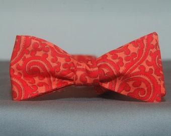 Orange on Orange Scrolls  Bow tie
