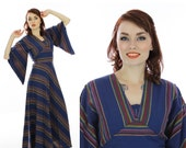 70s Mexican Dress Hippie Boho Bohemian Navy Blue Bell Sleeves Striped Ethnic Oaxacan 1960s 1970s 60s Vintage Small S Medium M