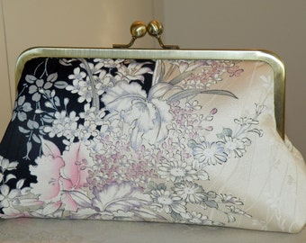 Vintage Silk Kimono Fabric Clutch/Purse/Bag/Long Island Bridal Gift..Cherry Blossom..Orchids/Rose..Midnight Blue/Ivory..Wrap/Shawl..Wedding