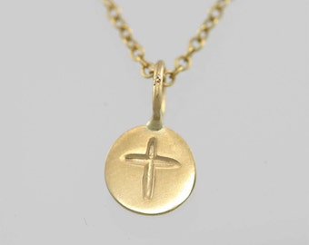 Stamped Cross Disc Necklace 14K (Made to Order)