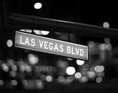 Vegas Art - Las Vegas Blvd Street Sign - 8x10 Photography Art Print - Black and White Photo Print