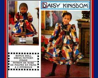 DAISY KINGDOM-Country Charm Girl's Dress- Sewing Pattern-Matching 18 Inch Doll Dress- Ruffles-Ribbon Bow Tie-Slip-Uncut-Size 7-14-OOP-Rare