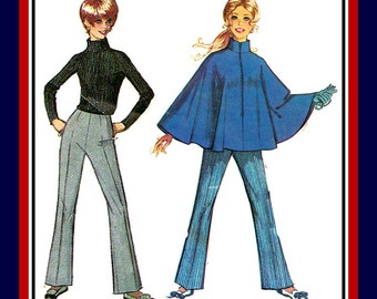 Vintage 1968-MOD GIRL-Sewing Pattern-Stylish Stand–Up Collar Cape-Front Zipper-Hipster Bell Bottom Pants-Breezy Poncho-Uncut-Size 12-Rare
