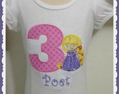1st 2nd 3rd 4th 5th Baby Girl Rapunzel Princess Birthday  Pink, yellow, purple Embroidered t- shirt