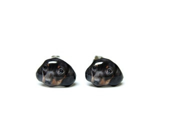 Black Shorthaired Dachshund Puppy Dog Stud Earringss - A025ER-D25   Made To Order