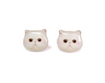 White Persian Cat Kitten with Red Blush Stud Earrings -  A025ER-C25   Made To Order