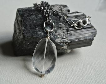 Quartz Crystal Pendant- Oxidized Silver Chain Necklace