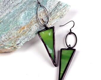 Mottled Green Stained Glass Earrings - Triangle Drops - Gunmetal