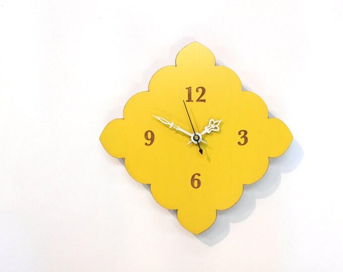tiny scallop clock - kitchen clock - bathroom clock - lemon yellow