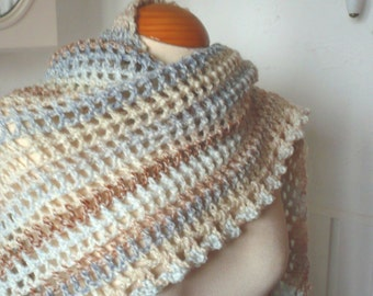Scarf in Two shades of Fawn with a hint of Blue Triangular Scarf  Shawl Women Road Trip