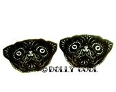 Sugar Skull Style Pug Earrings in Black by Dolly Cool Dog Day of the Dead