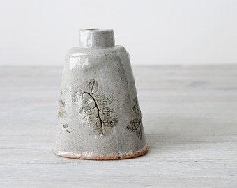 Gray hand built flask or bottle