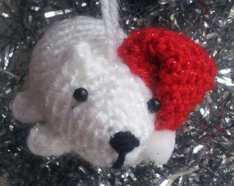 Polar Bear Ornament - bear ornament bear decoration crochet Christmas ornaments amigurumi Christmas ornaments crochet Christmas decorations