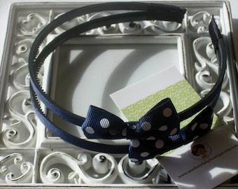 NEW----Hair Bow Doubled U-Shape Headband-----Navy with White Dots----